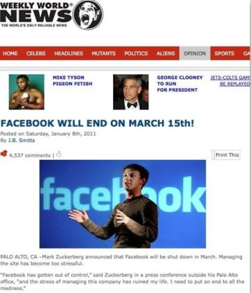 Picture about Facebook will End on March 15th, 2012!