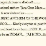 Picture about UNESCO declared Indian National Anthem as Best in the World!