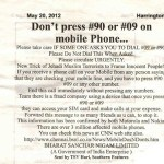 Picture about: Mobile Alert - Don't Press #90 or #09 on Your Mobile Phone