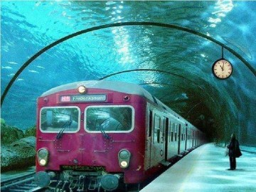 Picture about Underwater Train in Venice