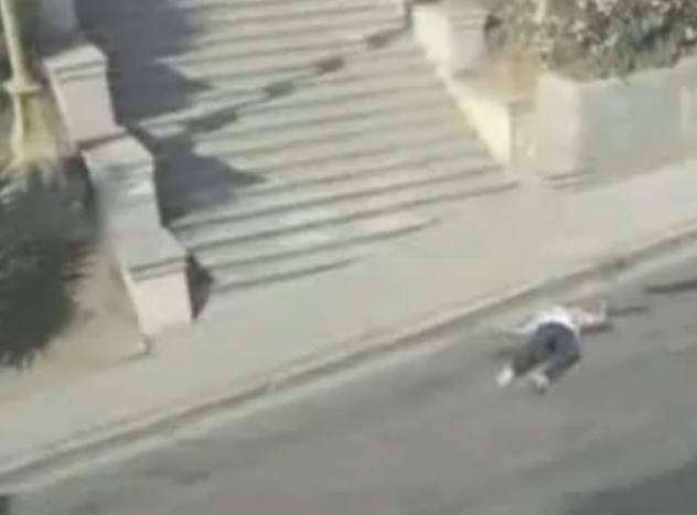 Picture about Video of Invincible Man Falling Down Stairs