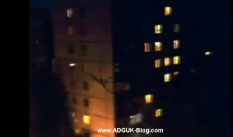 Picture about Huge Alien Insects Crawling Down on Buildings in Russia