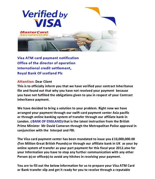 Picture of VISA ATM Card Payment Notification Emails Scam