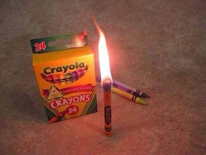 Picture Suggesting Crayons can Substitute as Candles