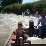 Video grab Showing Jumping Asian Carp Fish Attacking Boaters