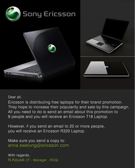 Picture of Free Sony Ericsson Laptops Email Hoax