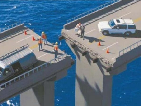 Photographs Showing Misaligned Bridge Constructions