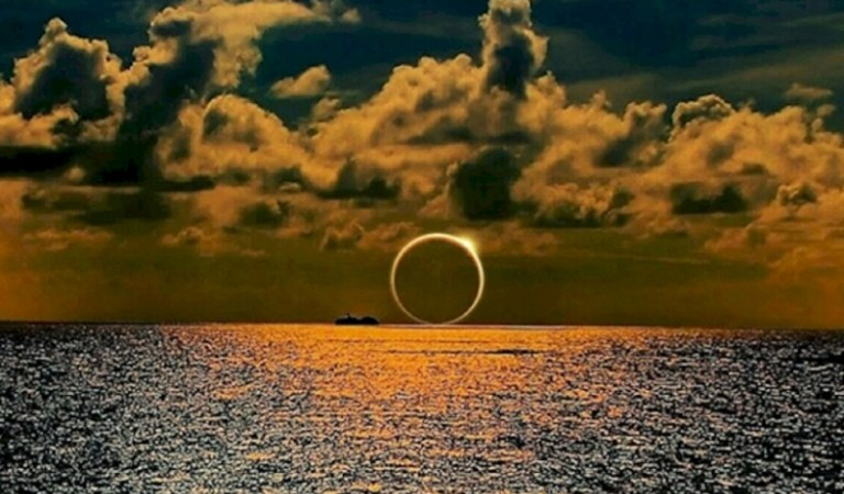 Picture of Sunset Eclipse Over South Pacific Ocean: Hoax