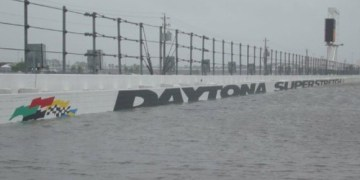 Picture Suggesting Daytona International Speedway Flooded with Water from Hurricane Matthew
