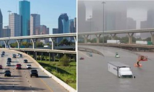 Picture of Houston overpass before and after flooding