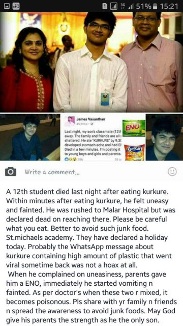 Picture about Class 12 Student Died After Eating Kurkure Snack
