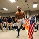 Image about Seattle Seahawks' Michael Bennett Burning US Flag