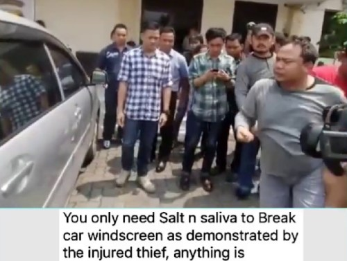 Picture about Thieves Use Salt and Saliva to Break Your Car Glass