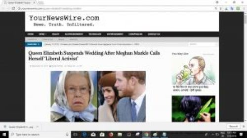 Screenshot of related article: Queen Elizabeth Suspends Prince Harry and Markle's Wedding