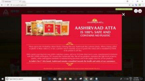 Screenshot of clarification on Aashirvaad atta official website