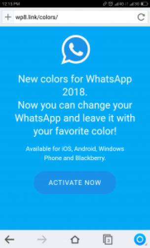 New Multicolor WhatsApp 2018 Message: Screenshot of Landing URL