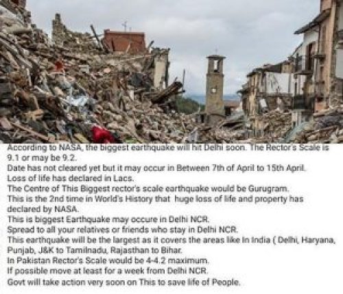 Image about Illustrative image: 9.1 Magnitude Earthquake to Hit Delhi in April 2018, NASA Warns