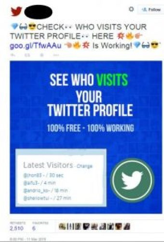 Image of Tweet: Who Visits Your Twitter Profile, App