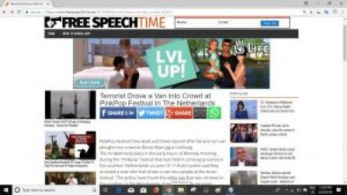 Screenshot of article on Free Speech Time website