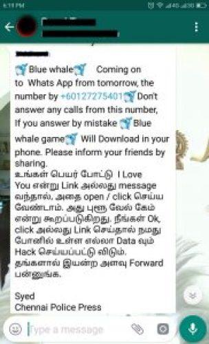 Message Screenshot: Blue Whale Coming onto WhatsApp Through Phone Call