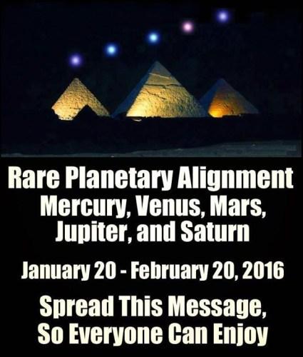 Image about Rare Planetary Alignment of Mercury, Venus, Mars, Jupiter, and Saturn