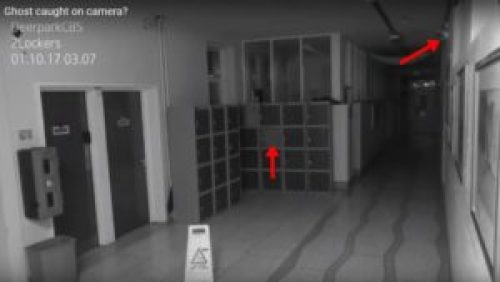 Image of Locker before opening and Security cam mounted high on wall