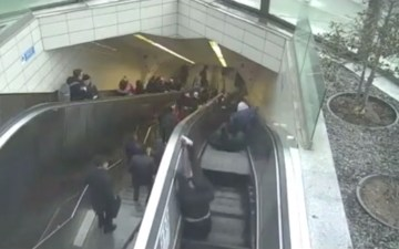 Image about Escalator Swallows Man, Terrifying CCTV Footage
