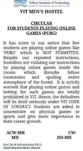 Image of VIT Notice banning PUBG Game in Campus