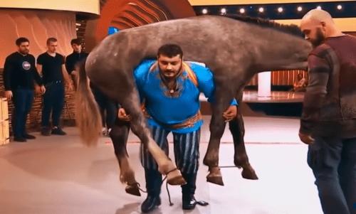 Image of Man Carries Horse On His Back – Dmytro Khaladzhi