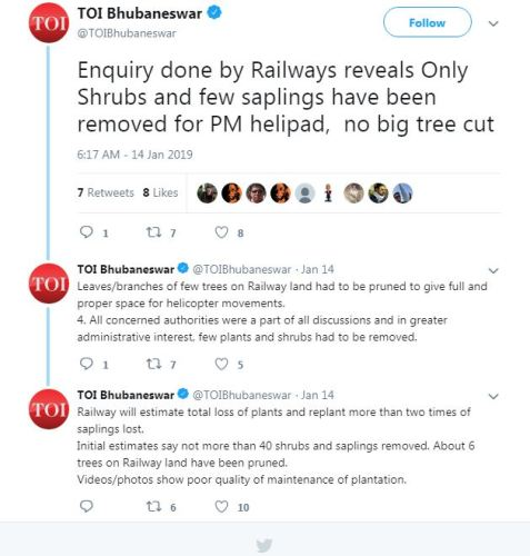 Screenshot of Times of India Bhubaneswar Tweets