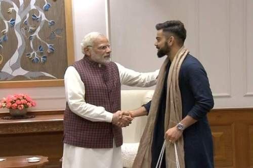 Image of Virat Kohli meeting Indian PM Narendra Modi