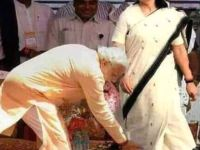 Picture about Narendra Modi Touching Sonia Gandhi's Feet