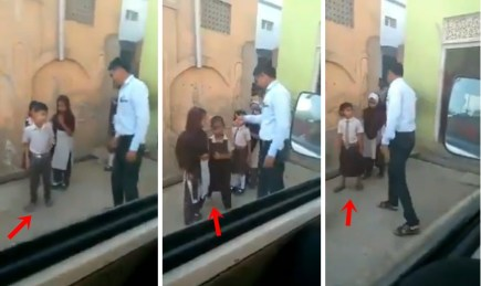 Images of Teacher beating school kids for not wearing uniform shoes