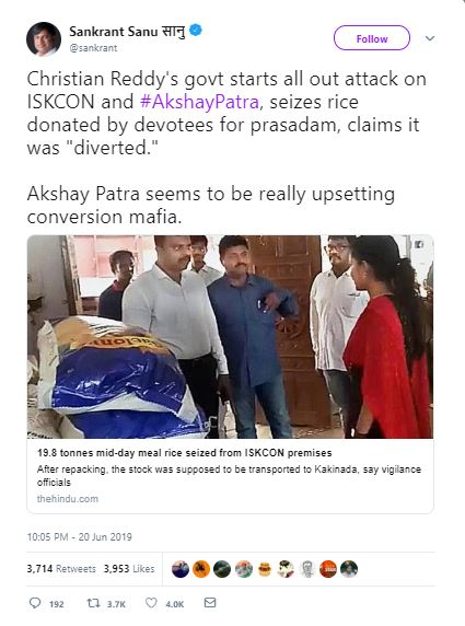 Image about Christian Reddy's Government Attacks ISKCON's Akshaya Patra