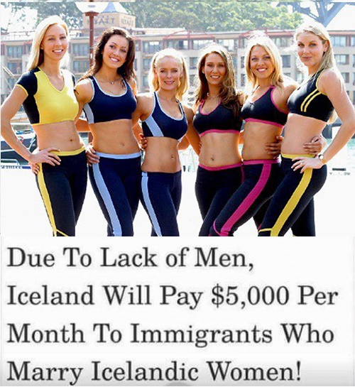 Image about Iceland Pays Foreign Men to Marry Their Women
