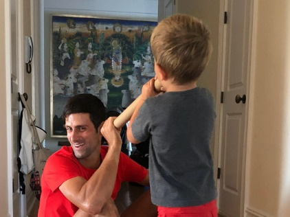 Image Showing Novak Djokovic Has Lord Krishna Painting at Home