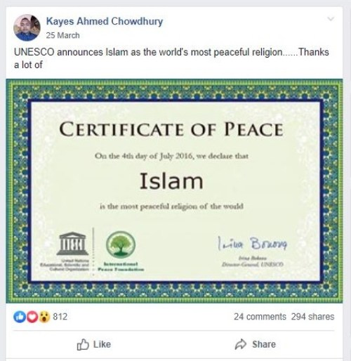 Image about UNESCO Declared Islam as Most Peaceful Religion of World