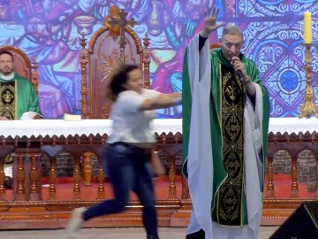 Image about Woman Knocks Off Priest from Stage on Feminist Comment