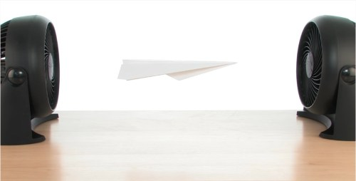 Image about Paper Plane Flying in Loop Between Two Table Fans, Video