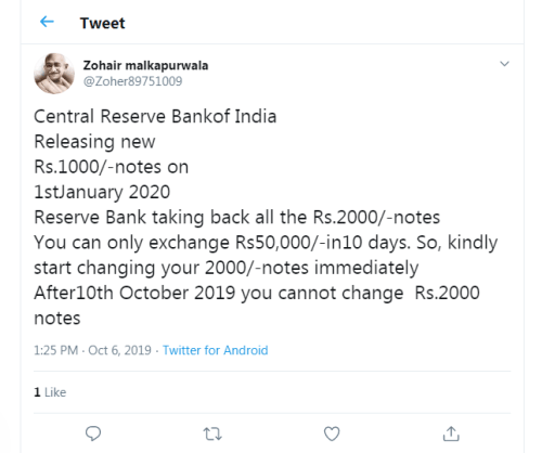 Image of Twitter post about RBI Discontinuing Rs 2000 Notes, Releasing New Rs 1000 Notes