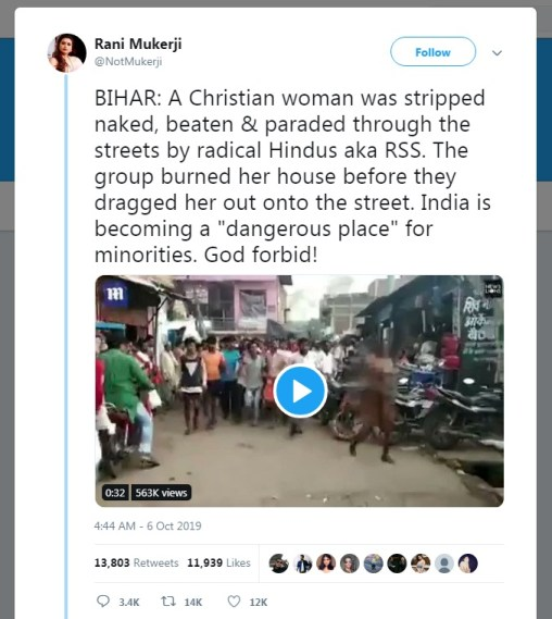 Image of story about RSS Paraded a Christian Woman Naked in Bihar, Video on Twitter