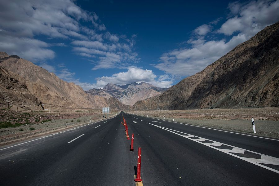 Image of Karakoram Highway near Tashkurgan, Northwest China's Xinjiang Uygur autonomous region