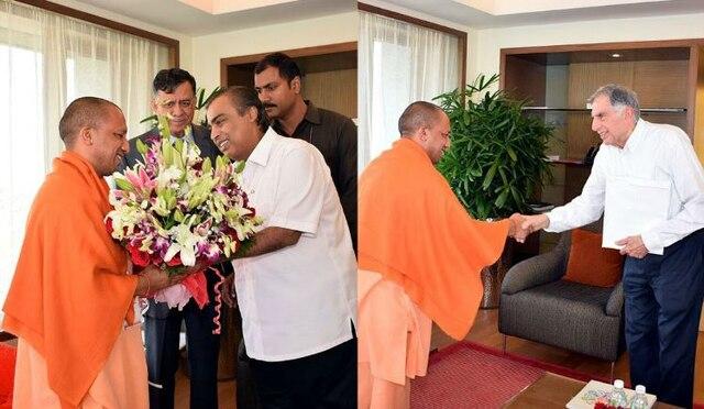 Image of Mukesh Ambani and Ratan Tata meet UP CM Yogi Adityanath before UP Investors' Summit 2018
