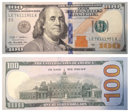 American 100 dollar currency note with Benjamin Franklin photo