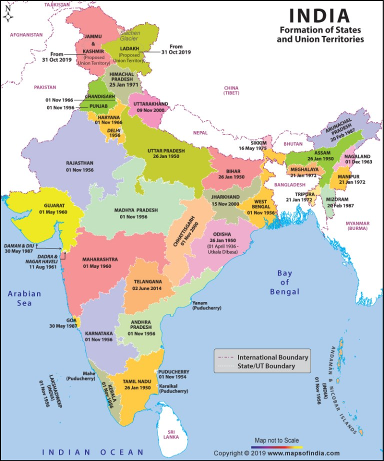 Image about New Updated India Map After Bifurcation of Jammu & Kashmir