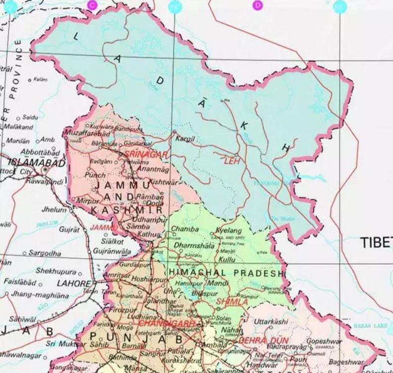 Map showing Bifurcation of Jammu and Kashmir