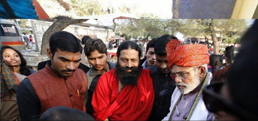 Image of Look-alike of Baba Ramdev with another look-alike of Narendra Modi