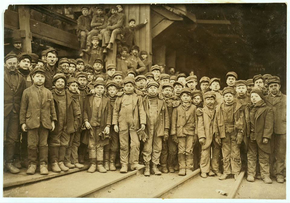 Image of Breaker boys who worked in Ewen Breaker of Pennsylvania Coal Company, South Pittston, Pennsylvania