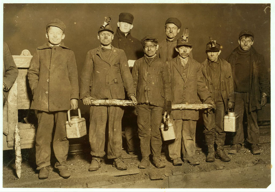Image of Workers at the end of the day in a Pennsylvania coal mine