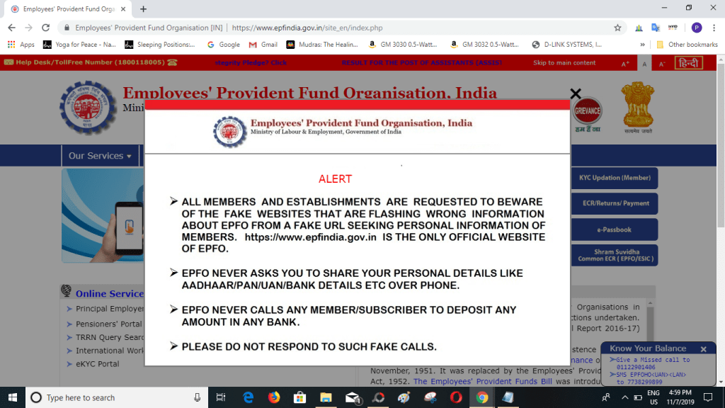 Image of EPFO Scam Alert message on their website
